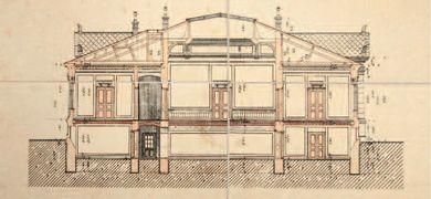 A múzeum eredeti tervrajza, 1909, keresztmetszet